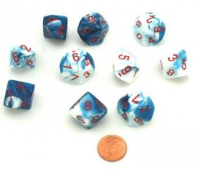 10 dés 10 faces glacé nacré bleu-blanc points rouge