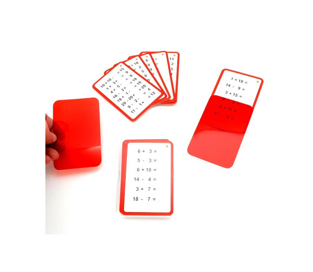 Jeu cartes addition / soustraction résultat caché