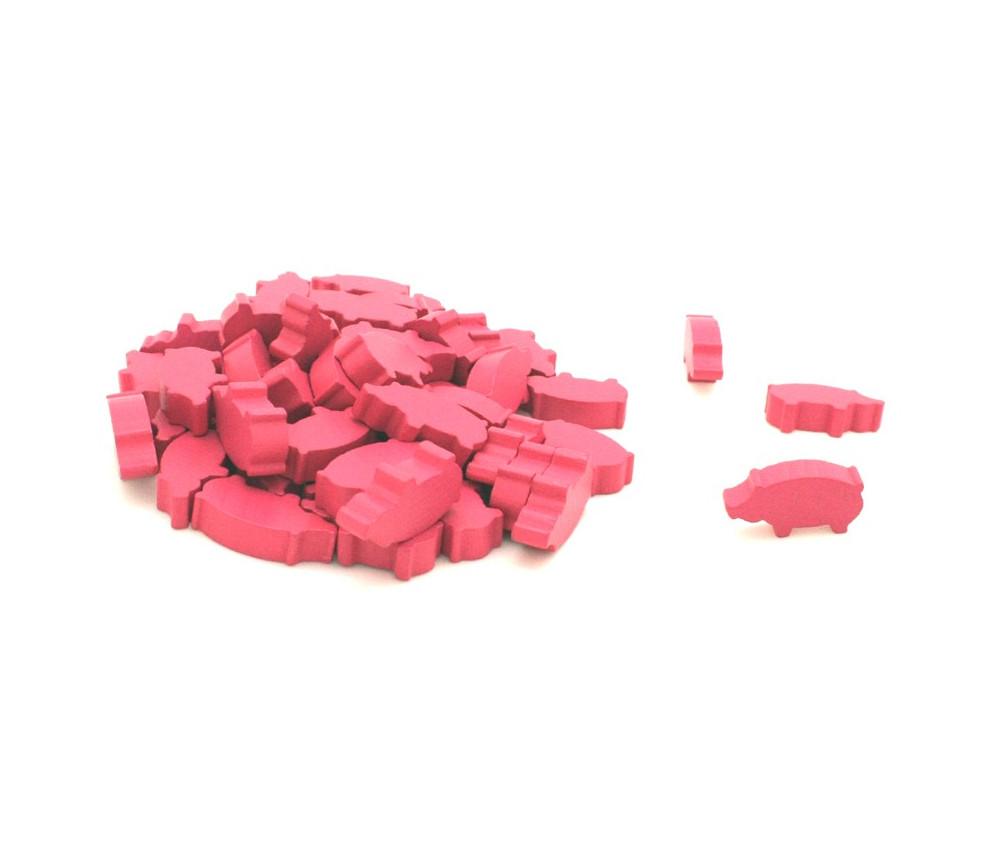 50 Pions cochons roses en bois