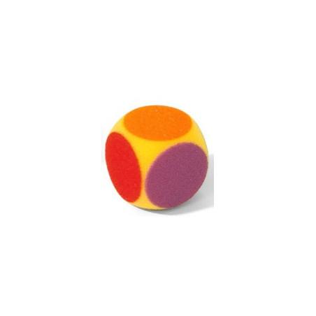 Dé géant 7 cm couleurs en mousse tactile