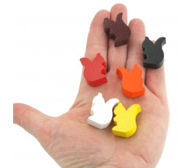 6 pions écureuils en bois colorés pour jeu
