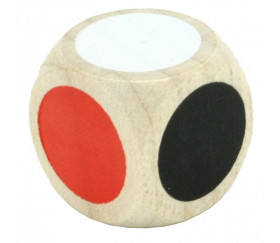 Dé bois 6 points couleurs 20 mm pour jeu de société