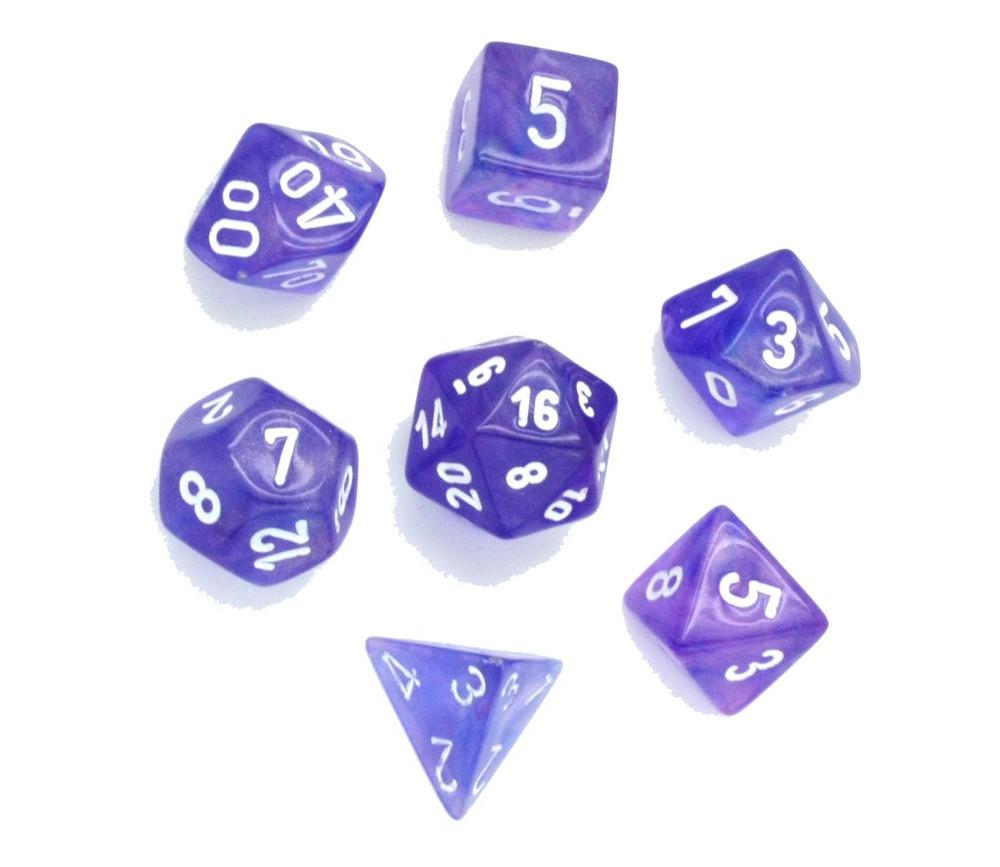 Set 7 dés multifaces Borealis violet pailleté avec chiffres blancs