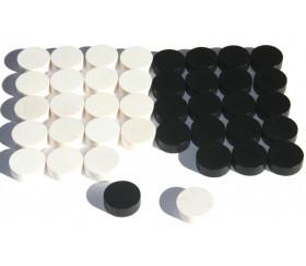 40 Pions bois pour jeu de dames 25 mm