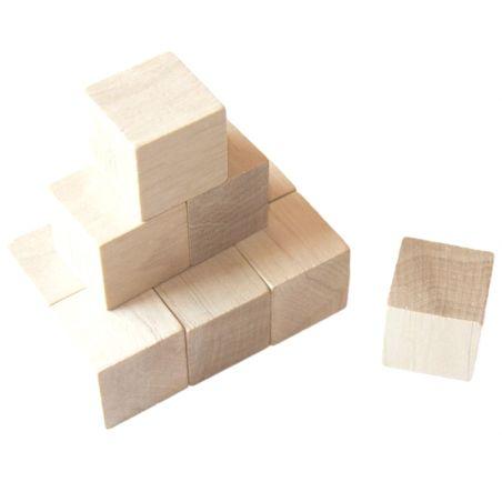 Cubes en bois 3 cm. 30 x 30 x 30 mm naturel
