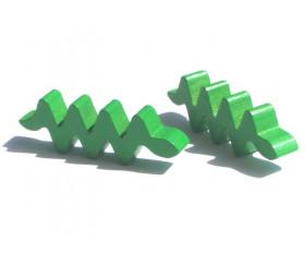 Pion serpent vert en bois