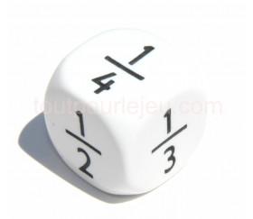 Dé fraction 1/2 2/4 1/3 2/3 1/4 3/4 en 22 mm