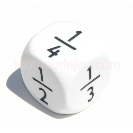 Dé fraction 1/2 1/6 1/4 1/5 1/8 1/3