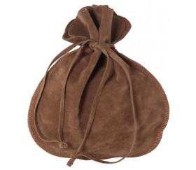 Bourse sac daim marron clair 17 x 18 cm