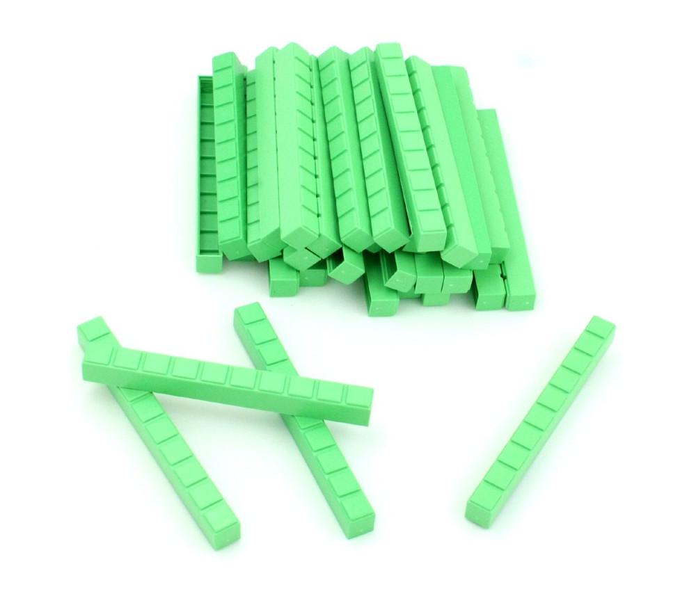 50 barres dizaines vertes  10 x 1 x 1 cm encastrables