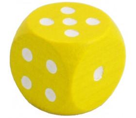 Dé jaune en bois 16 mm de 1 à 6 pour jeu de société