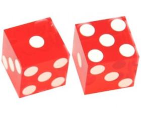 2 Dés à jouer Casino précision rouge transparent 19 mm