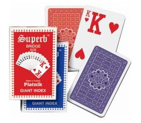 Jeu 54 cartes bridge 2 index géants Optic très lisible