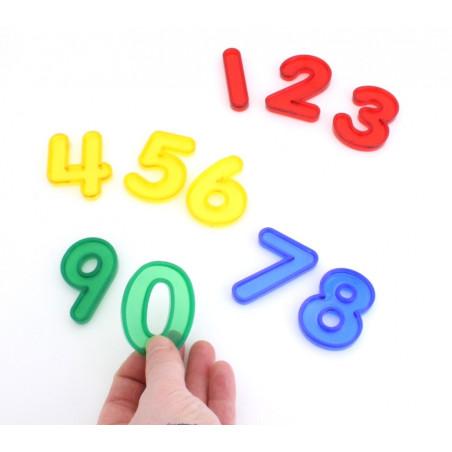 10 chiffres 0 à 9 hauteur 5 cm plastique translucide coloré