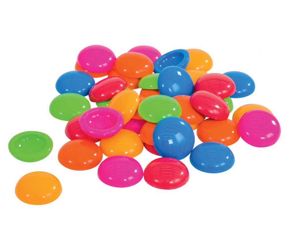 250 Pions galets 20 mm creux plastiques couleurs vives