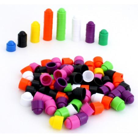100 petits pions empilables 12x13 mmpour jeux couleurs