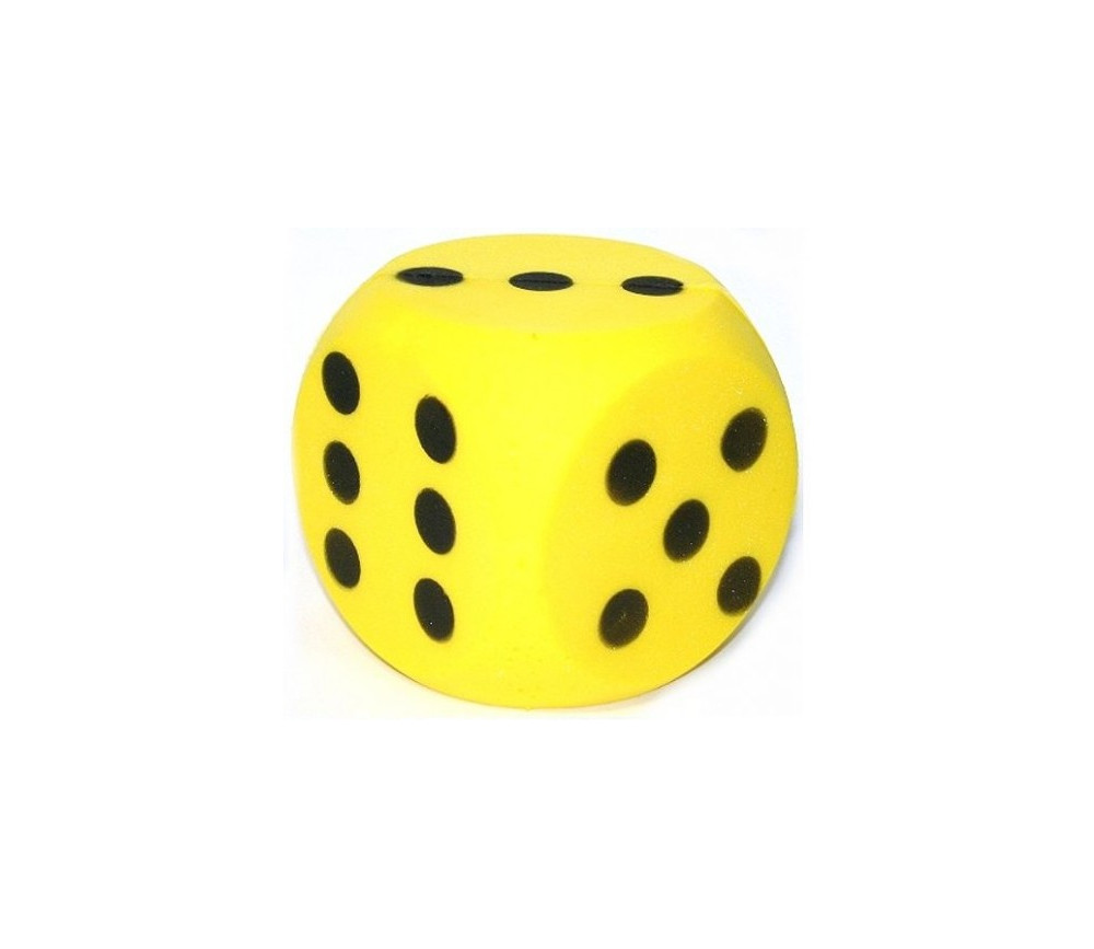 Dé géant jaune en mousse de 15 cm