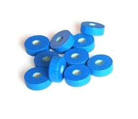 Jeton troué bleu bois pour jeu pions 21 x 7 mm à l'unité avec trou de 7 mm