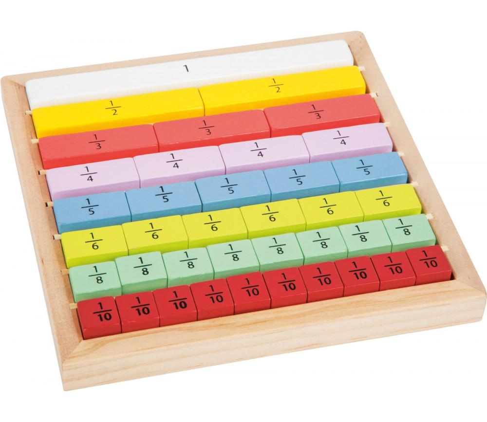 Jeu barre fractions en bois éducation