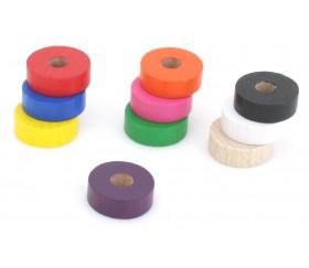 Jeton troué bois pour jeu pions 21 x 7 mm à l'unité avec trou de 7 mm