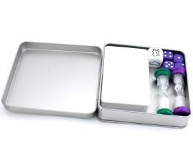 Boite métal carré pour accessoires jeux 120 x 120 x 35 mm
