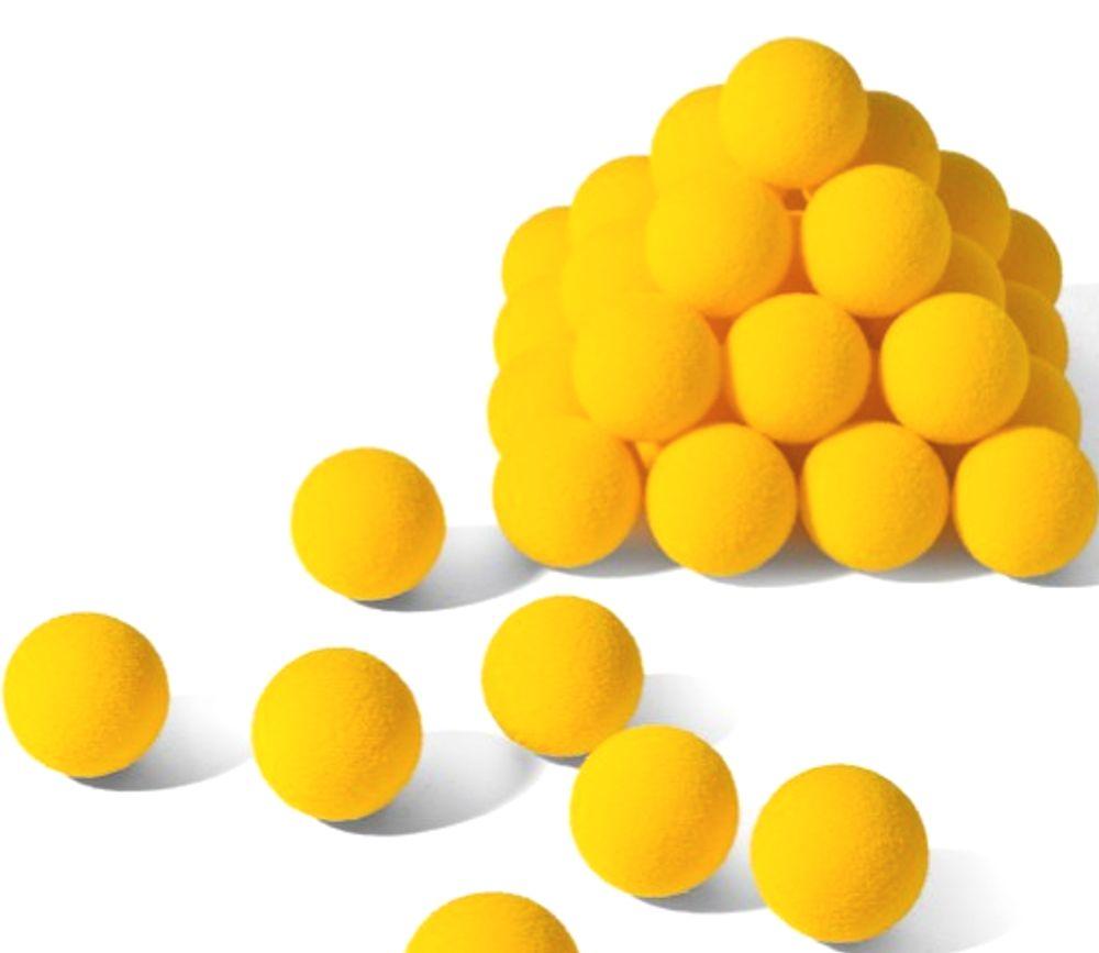 12 Balles mousse jaunes de 40 mm de diamètre