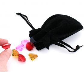 Bourse petit Sac noir en daim 10x12 cm