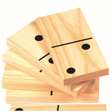 Dominos en bois géant jeu maxi 20 x 10 cm