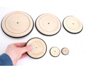 Roue en bois de 12 cm avec pneu caoutchouc pour construction
