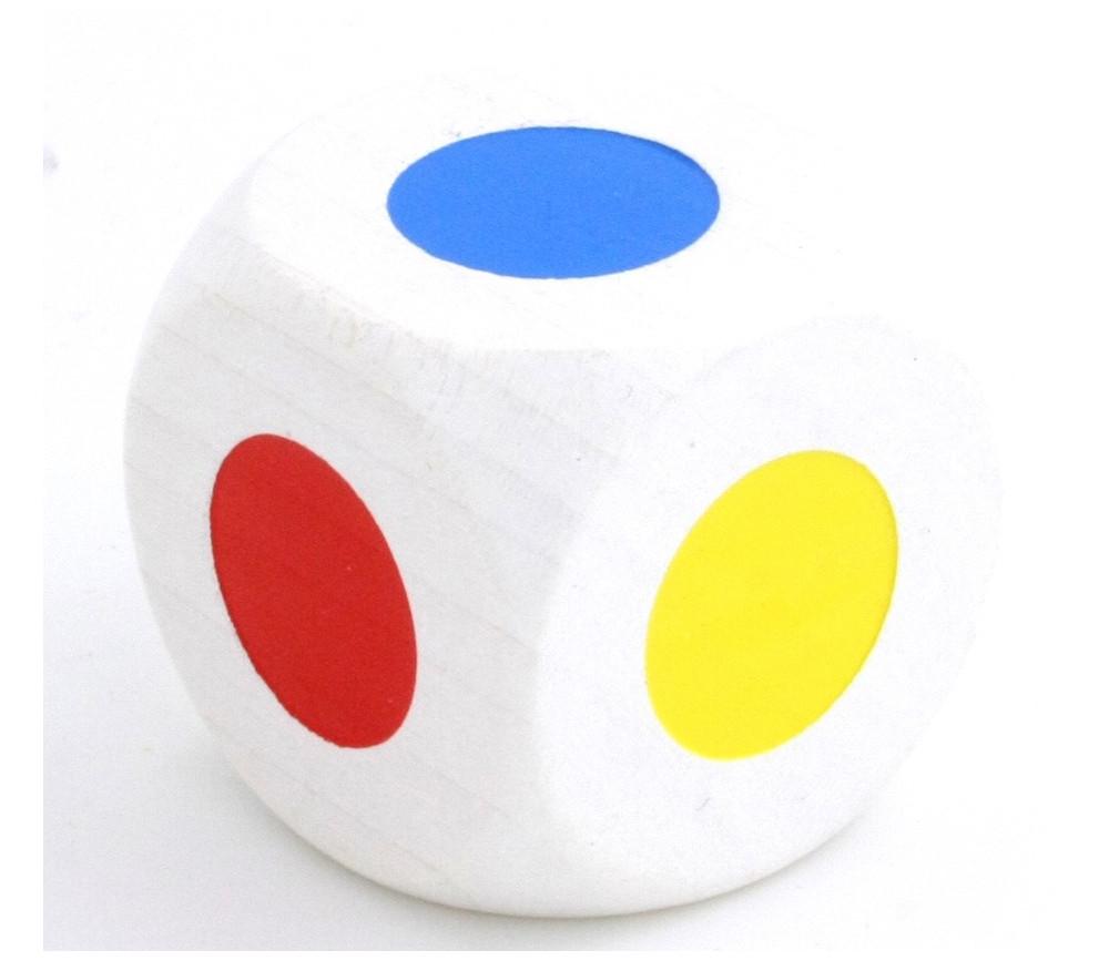Grand Dé bois 30 mm 6 points couleurs orange blanc rouge vert jaune bleu