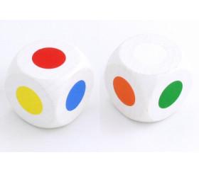 Grand Dé 30 mm 6 points couleurs orange blanc rouge vert jaune bleu