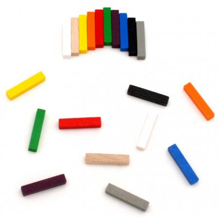 100 bûchettes 5x5x25 mm 10 couleurs pions en bois pour jeu