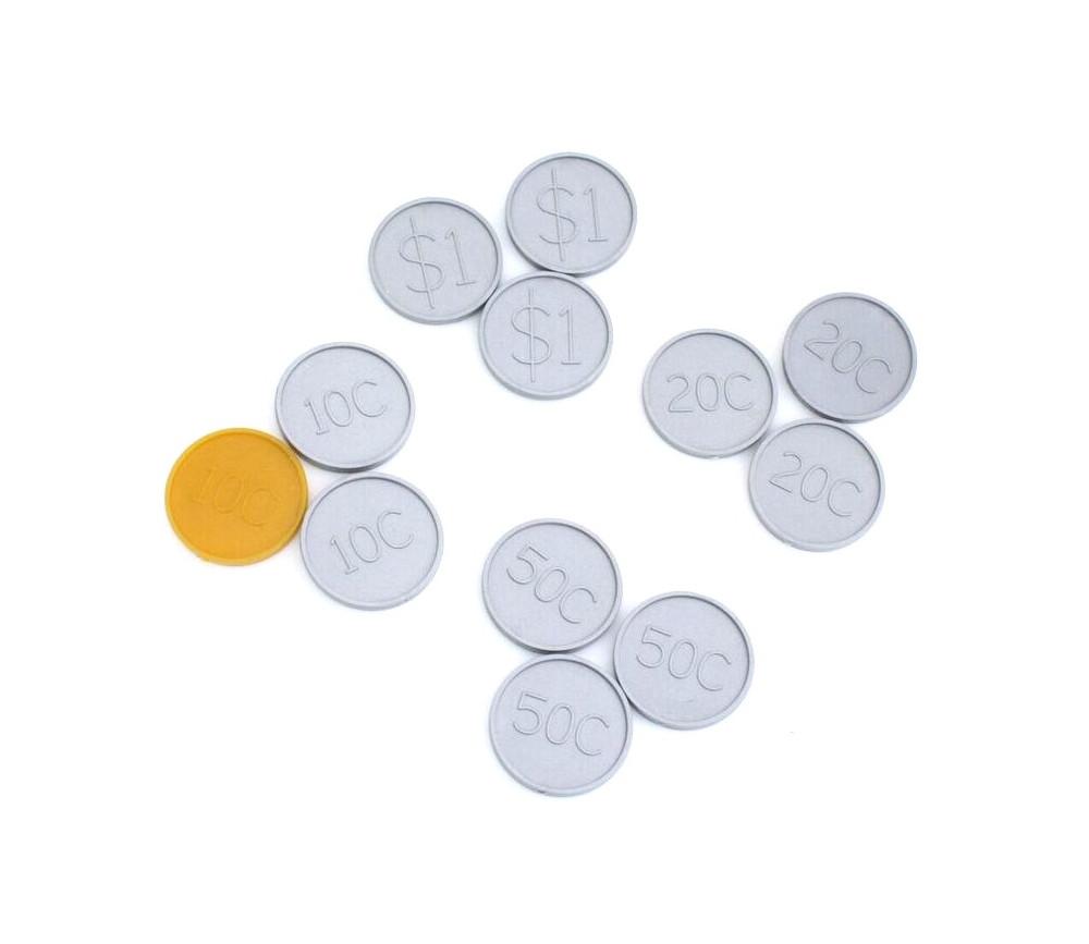 12 pièces dollars et cents en plastique monnaie